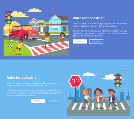 Illustration for Rules for pedestrians set of banners with inscription. Vector illustration of smiling boys and girl crossing road against blue background - Royalty Free Image