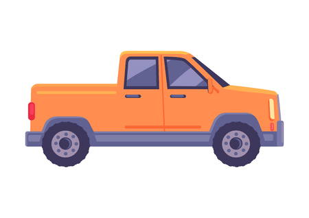 Illustration pour Orange pickup car icon. Compact truck suv flat vector isolated on white background. Passenger vehicle with cargo body chassis illustration - image libre de droit