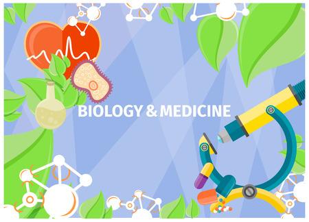 Ilustración de Biology and medicine as fundamental natural sciences. Vector illustration of core nations and processes, objects of biological and medical studies. - Imagen libre de derechos