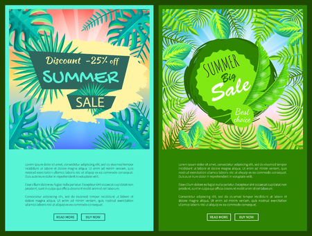Ilustración de Discount summer sale web posters with percent off promotional emblems. Summertime tropical plants leaves seasonal price vector online pages collection - Imagen libre de derechos