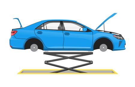 Ilustración de Vehicle suspended on special lift vector poster, illustration of automobile in auto workshop, car without wheels and open hood inspection process - Imagen libre de derechos