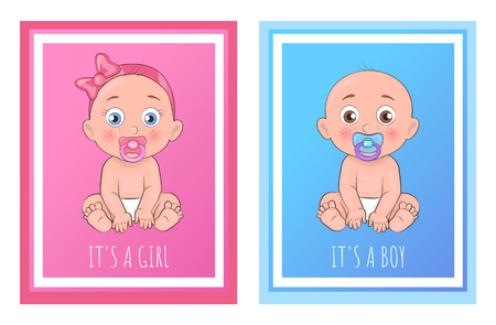 Illustration pour Its a boy and girl posters set newborn toddlers with pacifier in mouth and dressed in diapers vector illustration of bold infants isolated in frame - image libre de droit