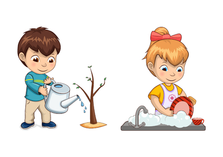 Boy waters tree sprout with watering can and girl washes dishes in sink. Children help parents to do house chores isolated vector illustrations set.