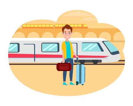 Illustration pour Man with Baggage Wait for Train at Railway Station - image libre de droit