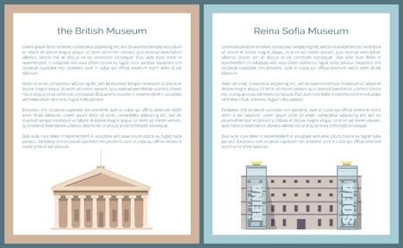 Illustration pour Reina Queen Sofia Museum Located in Madrid, Vector - image libre de droit