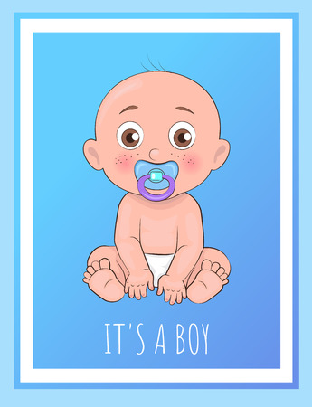 Ilustración de Its a boy poster newborn toddler with pacifier in mouth and dressed in diapers vector illustration of bold toddler boy isolated on blue in frame - Imagen libre de derechos
