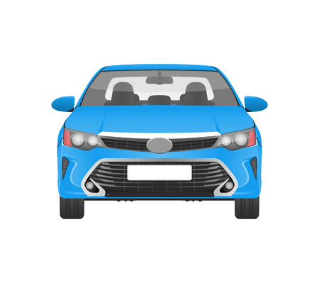 Illustration for Modern Practical Car in Blue Corpus Front View - Royalty Free Image