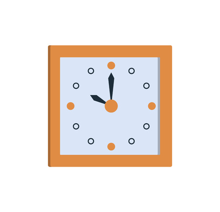 Ilustración de Clock icon square wall watch showing time ten o clock vector illustration of timekeeper isolated on white background. Stylish timer in flat style design - Imagen libre de derechos