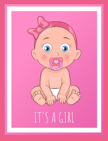 Illustration pour Its a girl poster for baby shower day vector illustration of newborn infant with pacifier in diapers isolated on pink background, female toddler banner - image libre de droit