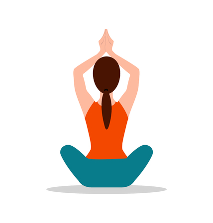 Foto für Sitting position of yoga, woman sits and raises her hands above head, floor pose for meditation, vector illustration isolated on white background. - Lizenzfreies Bild
