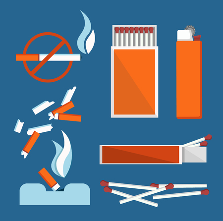 Illustration pour Stop Smoking Banner Isolated on Blue Background - image libre de droit