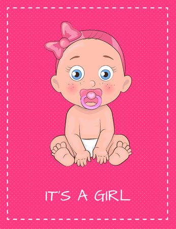 Illustration pour Its a Girl Poster Dedicated to Baby Shower Day - image libre de droit
