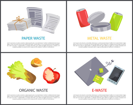 Illustration pour Organic paper metal and e-waste set colorful cards, vector illustrations with various refuse, electronic devices and newspapers, jars and food garbage - image libre de droit
