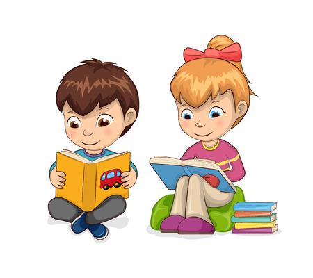 Illustration pour Kids self-development hobby reading of books for children, girl sitting in armchair enjoying process, boy smiling isolated on vector illustration - image libre de droit