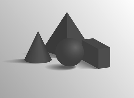 Illustration for Square pyramid or cone, sphere and cuboid 3D geometric black shapes. Three dimensional figures composition isolated realistic vector illustration. - Royalty Free Image