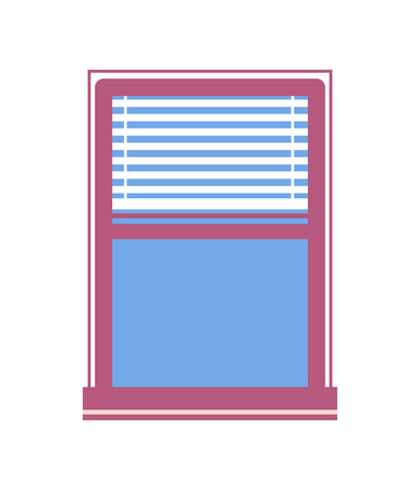 Window with half-closed jalousie vector illustration of window with blue glass in purple windowframe, exterior design element isolated on white