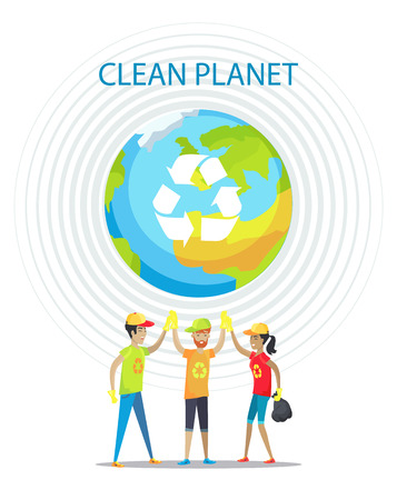 Illustration pour Clean planet motivation poster on white backdrop, isolated vector illustration, Earth image with recycling symbol, circles set and cheerful people - image libre de droit