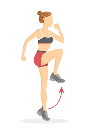 Ilustración de High knees exercise tabata woman doing fitness, pointer and arrow showing right direction, cartoon vector illustration isolated on white background. - Imagen libre de derechos