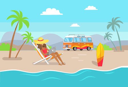 Illustration pour Woman in straw hat working on laptop at sandy beach. Suntanned girl works as freelancer summertime. Distant work and summer vacation vector illustration. - image libre de droit