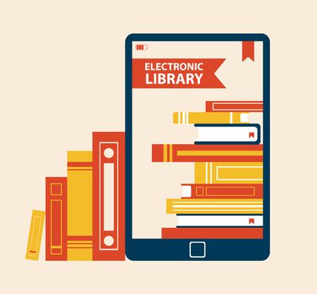 Illustration pour Electronic Library Poster Vector Illustration - image libre de droit