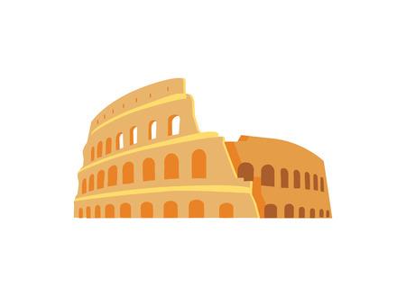 Illustration pour Roman Coliseum Ruins in Ancient Architecture Style - image libre de droit