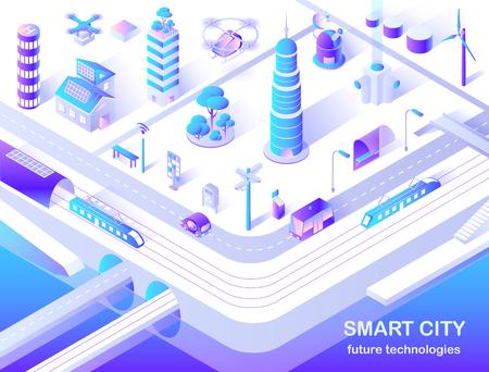 Illustration pour Smart City Future Technology Isometric Flowchart - image libre de droit