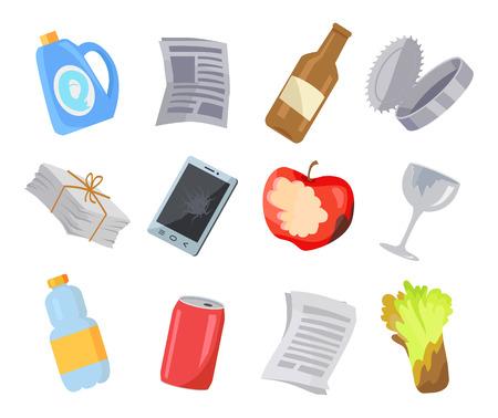 Illustration pour Collection of Various Garbage Icons Color Poster - image libre de droit