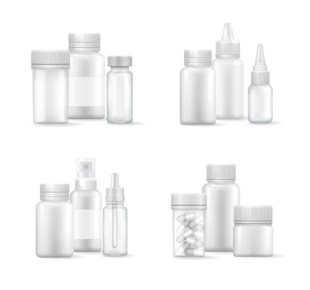 Pills and Capsules in Bottles Vector Illustration