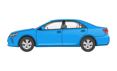 Illustration for Practical Modern Car in Blue Corpus Side View - Royalty Free Image