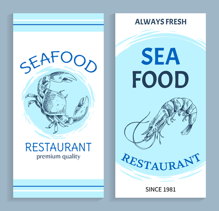Best quality seafood restaurant hand drawn banner  Shrimp and crab