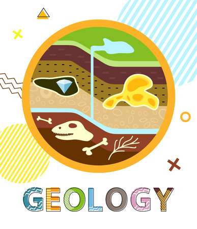 Illustration for Geology Poster Soil Layers Vector Illustration - Royalty Free Image