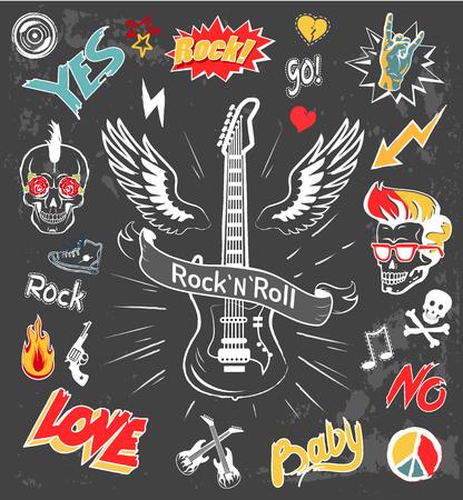 Illustration for Rock-n-Roll Forever Badges Vector Illustration - Royalty Free Image
