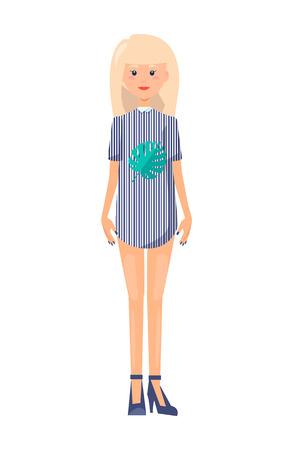 Ilustración de Blonde Girl on High Heels in Short Dress T-shirt - Imagen libre de derechos