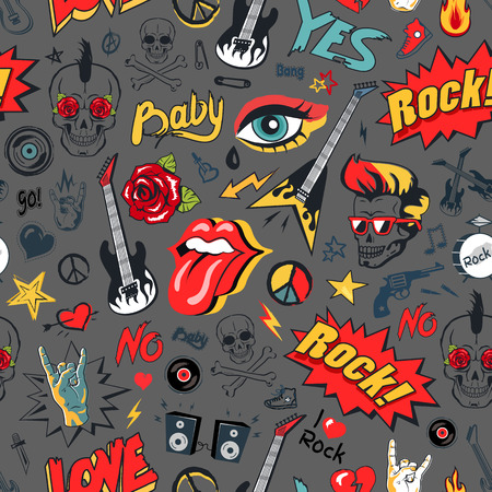 Illustration pour Rock elements seamless pattern. Guitar and loudspeakers, tongue and horned fingers, peace sign of hippie and electric guitars vector illustration - image libre de droit
