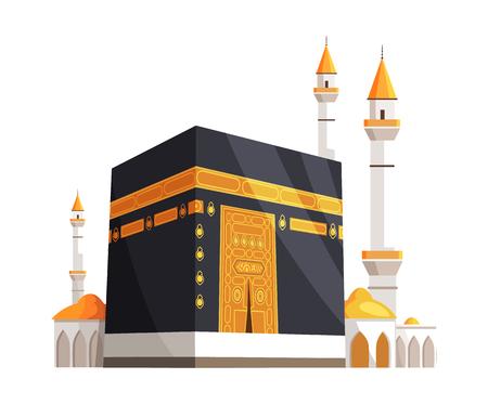 Illustration pour Mosque on Eid Al Adha Closeup Vector Illustration - image libre de droit