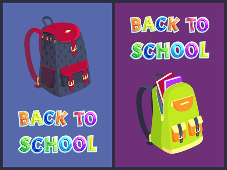 Back to school schoolbag stuffed with books. Posters satchels backpacks of schoolboy and schoolgirl. Rucksack with pockets and clasps poster vector