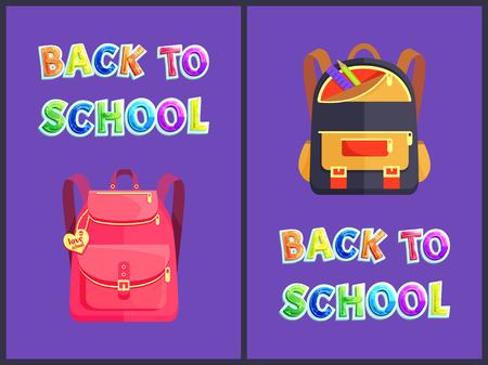 Back to school backpacks poster set. Pink rucksack with love label. Bag with comfortable shoulder straps and pencil ruler in pocket satchels vector