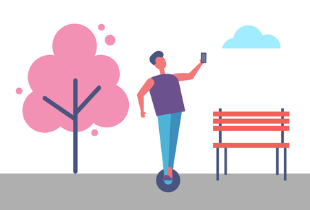 Illustration pour Man Riding on playing board and Making Selfie Vector Park - image libre de droit