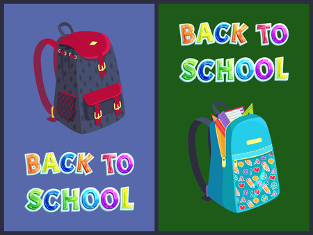 Back to school bag posters and text set. Backpacks of children satchel with notebook page ruler and pencil. Heart and abc pattern on knapsack vector