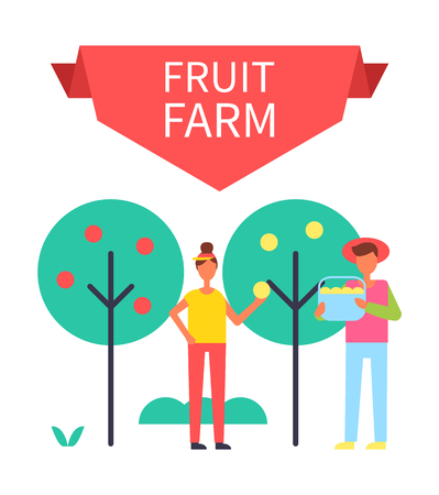Fruit farm poster with harvesting people gathering ripe products from trees. Man with bucket and woman holding apple in hands farming persons vectorのイラスト素材