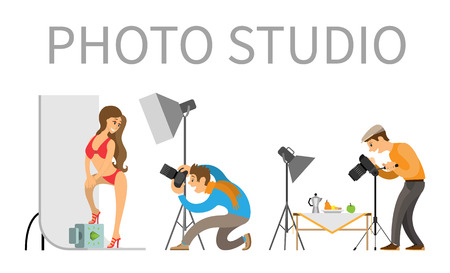 Photo studio photographer and model in swimsuit. Professional light focusing spotlight, photographing equipment. Man photographing food on table vector