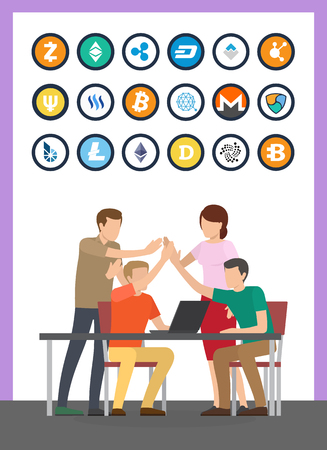 Illustration pour Bitcoin currency and successful teamwork set vector. Isolated icons of cryptocurrencies types, litecoin and dash, bitshare monero bitcoindark ether - image libre de droit