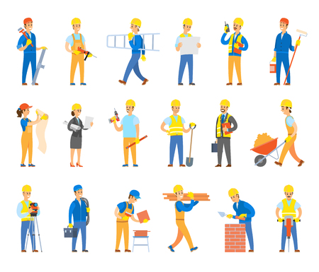 Illustration pour Builders and engineers with tools, bricks or tiles set. Workers in hardhats hold ladder, spade near wheelbarrow, toolkit, drill vector illustrations. - image libre de droit