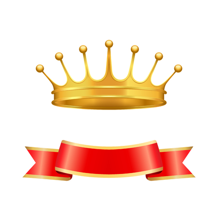 Illustration pour Golden heraldic crown with seven pearls or beads on jags and wavy ribbon below isolated. Vector baron coronet or monarch headpiece as power symbol. - image libre de droit