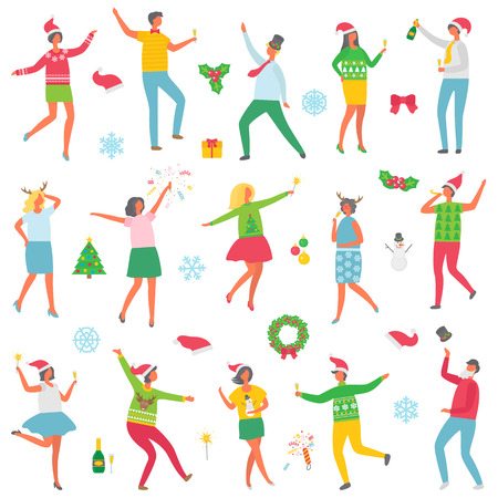 Illustration for Christmas party people celebration set vector. Man and woman wearing sweaters with reindeer, holding champagne in hands. Dancing with snowman toy - Royalty Free Image