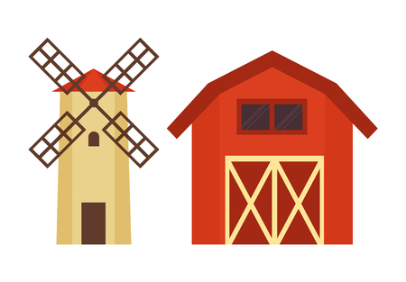 Barn for grain or hay warehousing and water tower with wooden cover for dacha, farm or ranch flat vector illustration isolated on white building set.