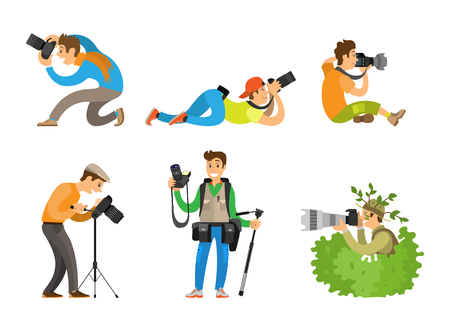 Illustration pour Photographers or paparazzi taking photo with digital cameras from all angles and bush. Journalists or reporters spy and follow vector illustrations. - image libre de droit