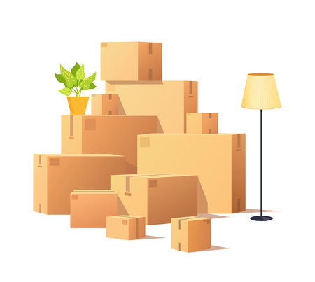 Illustration pour Box carton, closed cardboard packages cargo vector. Torchiere standing lamp and houseplant in pot, potted flower with leaves. Delivery and containers - image libre de droit