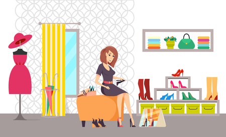 Illustration pour Female shopaholic shopping in shoes store vector. Customer choosing boots, changing room with curtain and mirror. Clothes with dresses and accessories - image libre de droit