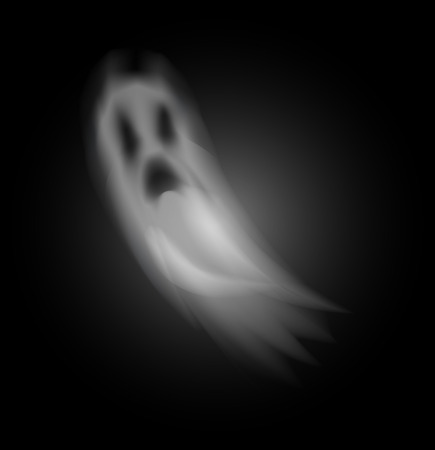 Illustration pour Ghost poltergeist creature halloween isolated icon vector. Scary mysterious spirit haunting people at night. Mystery of horror and spooky apparition - image libre de droit